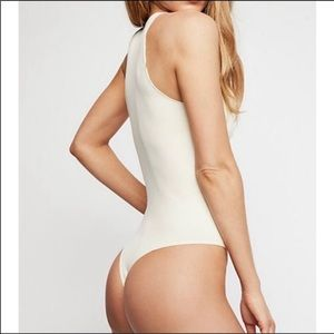 New Free People ivory thong Bodysuit size M/L
